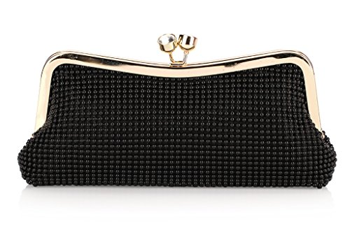 Beaded Handbag Triangle Beading Gold Clutch Evening Lock Two Tone Jewels Kissing Gold Shaped Prom axzWPE0