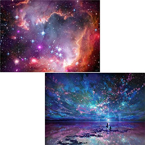 Ginfonr 5D DIY Diamond Painting by Number Kits Aurora Stars Full Drill for Adults, Starry Sky Paint with Diamonds Art Space Rhinestone Cross Stitch Craft Decor (10x14 inch, 2 ()