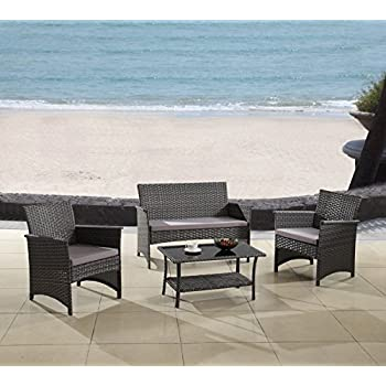 modern outdoor dining set stainless steel modern outdoor garden patio piece seat gray espresso wicker sofa furniture set grey amazoncom
