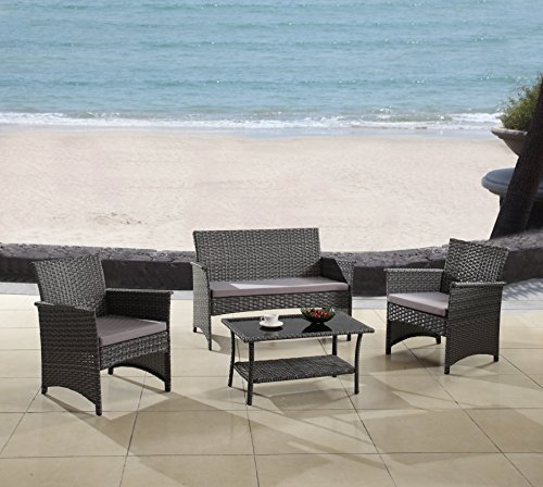 Modern Outdoor Garden, Patio 4 Piece Seat - Gray, Espresso Wicker Sofa Furniture Set (Grey) (Grey Rattan Patio Furniture)