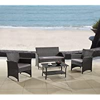 Modern Outdoor Garden, Patio 4 Piece Seat - Gray,...