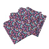 Roostery Exotic Peacock Print India Indian Bird Kids Linen Cotton Dinner Napkins Abstract Retro Peacock and by Littlesmilemakers Set of 4 Dinner Napkins