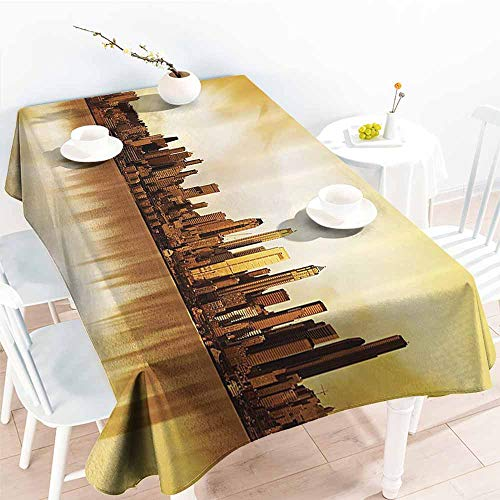 Homrkey Elegance Engineered Tablecloth Apartment Decor Collection Panoramic Image of The City of Seattle at Sunset Business Corporate Cityscape Image Golden Cream Soft and Smooth Surface W52 xL72 (Best Crawfish In Seattle)
