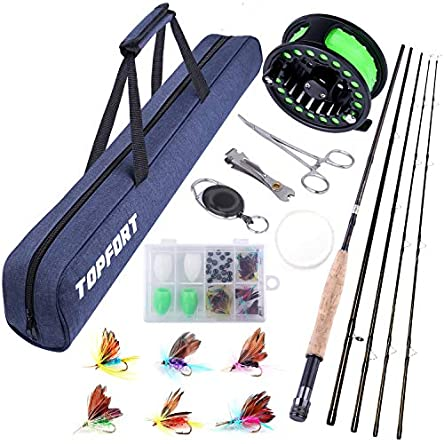 TOPFORT Fly Fishing Rod and Reel Combo, 4 Piece Lightweight...