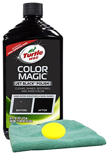 Turtle Wax Color Magic Black Car Polish (16 oz) Bundle with Microfiber Cloth & Foam Pad (3 Items) ()