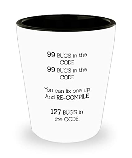 Amazon com | Best Programmer Shot Glass - 99 Bugs in the