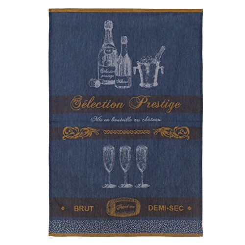 COUCKE French Cotton Jacquard Towel, Selection Prestige (Bottles) Bleu, 20-Inches by 30-Inches, Blue