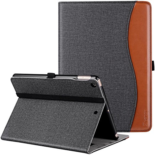 New IPad 9.7 Inch 2018/2017 Case, Ztotop Premium Leather Business Slim Folding Stand Folio Cover with Auto Wake/Sleep,Pencil Holder and Multiple Viewing Angles,DenimBlackk