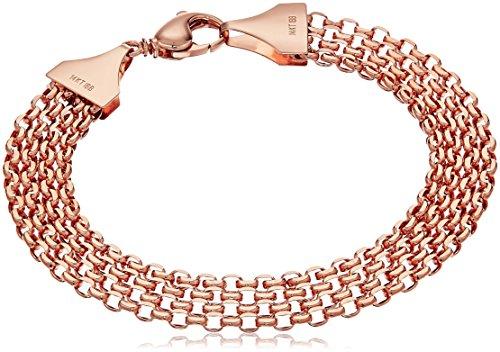 14k Rose Gold Multi-Row Bismark Chain Link Bracelet, 7