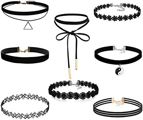 FIBO STEEL 8-10PCS Womens Black Velvet Choker Necklace for Girls Lace Choker Tattoo Necklace