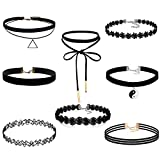 #5: FIBO STEEL 8-10PCS Womens Black Velvet Choker Necklace for Girls Lace Choker Tattoo Necklace