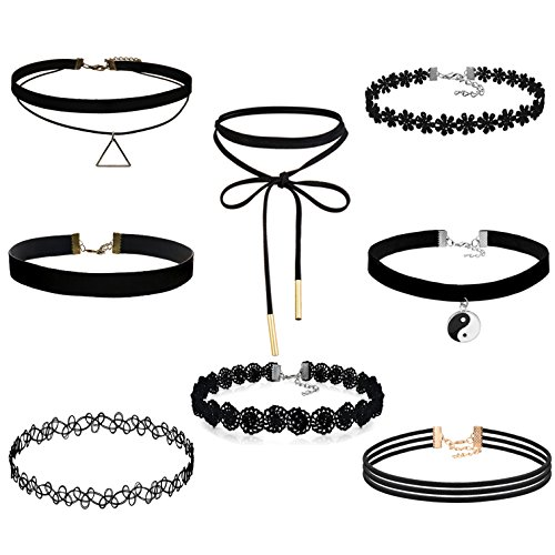 FIBO STEEL 8-10PCS Womens Black Velvet Choker Necklace for Girls Lace Choker Tattoo Necklace 517pnmiPtWL