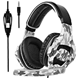 Sades Camouflage PS4 Xbox one Gaming Headset Over Ear Stereo Bass Gaming Headphone with Noise Isolation Microphone for PS4 Xbox One PC Computer Mobile Phones