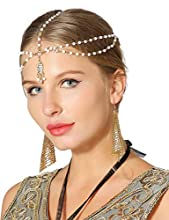 Metme Women Headband Roaring 1920s Party Women Beaded Hair Band with Drop Pendant