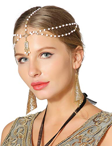 Metme Headband Roaring 1920s Party Women Beaded Hair Band with Drop -