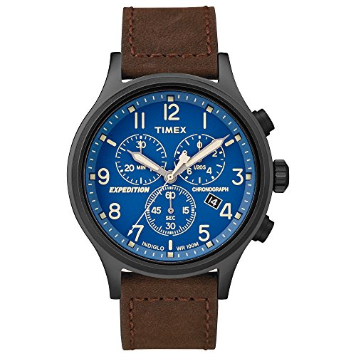 (Timex Men's TW4B15900 Expedition Scout Chrono Brown/Black/Blue Leather Strap Watch )