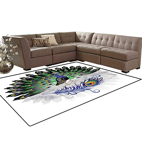 Peacock Decor Customize Door mats for Home Mat Male Peacock with Open Tail Reflection Illustration Crowned Majestic Bird Tropics Bath Mats Carpet 6'x7' ()