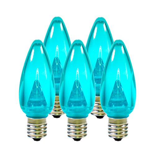 Holiday Lighting Outlet Smooth C9 Christmas Lights | Teal LED Light Bulbs Holiday Decoration | Warm Christmas Decor for Indoor & Outdoor Use | 3 SMD LEDs in Each Light Bulb | Set of 25 -