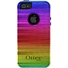CUSTOM Black OtterBox Commuter Series Case for Apple iPhone 5 / 5S - Rainbow Shimmering Lines