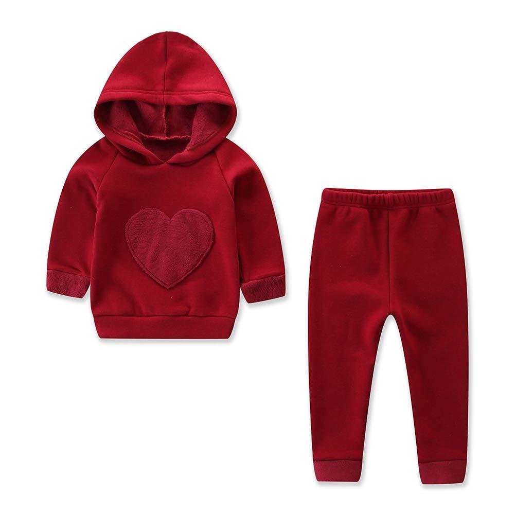Lengima Toddler Girl Red Hoodie Outfit 2PCs Short Fleece Heart Pantaloni Felpa