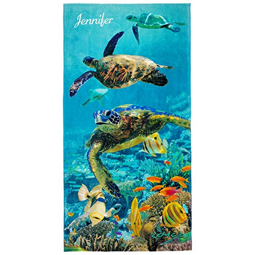 Cotton Sheet Set Emb - Kaufman - Personalized Kids Turtles Beach and Pool Towel 30''X60'' Custom Embroidered Soft Absorbent and Dry Fast 100% Cotton(106063)