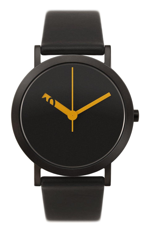 Normal Timepieces - Extra Normal Grande - Edelstahl IP Schwarz Leder Unisex Uhren