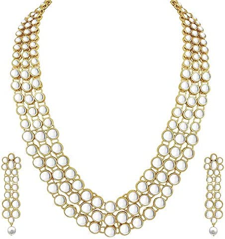 Aheli Fancy Bollywood Party Faux Kundan Beads Necklace Indian Traditional Wedding Jewelry Sets for Women