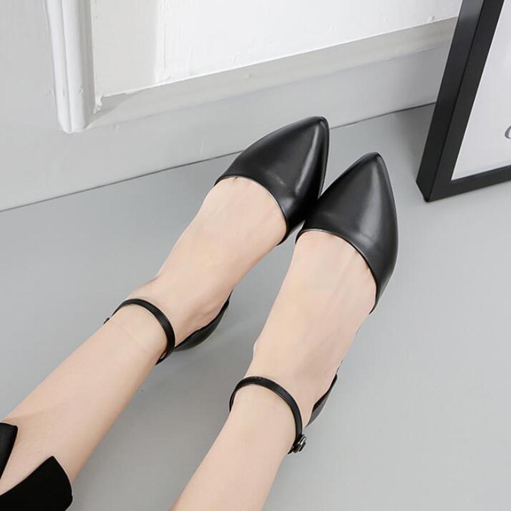 L@YC Women Pointed Sandals Word Buckle Summer Flat Heels Bottom High Heels Flat Dance Office Dress Shoes B073W3G1Q3 Platforms & Wedges 6ec489