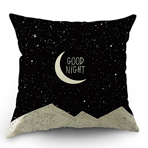 Moslion Moon Pillows Decorative Throw Pillow Cover Case Night Sky Moon Stars Mountain Good Night Quote Cotton Linen Pillow Case 18 x 18 Inch Square Cushion Cover for Sofa Bedroom Black White