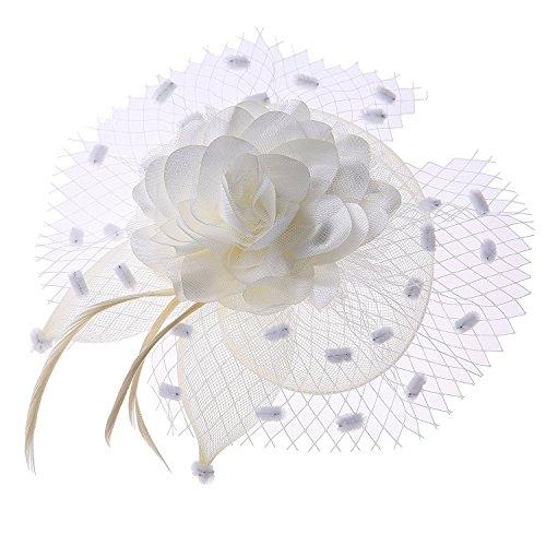 Coolwife Womens Fascinator Veil Flower Cocktail Tea Party Headwear (Beige)