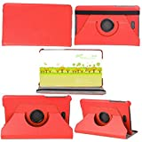 "Rotating 360 Degree Luxury Folio Stand Leather Case Rotary Cover +1x Clear Screen Protector For Dell Venue 8 Pro 3840 3845 5830 8"" Tablet (Red)"