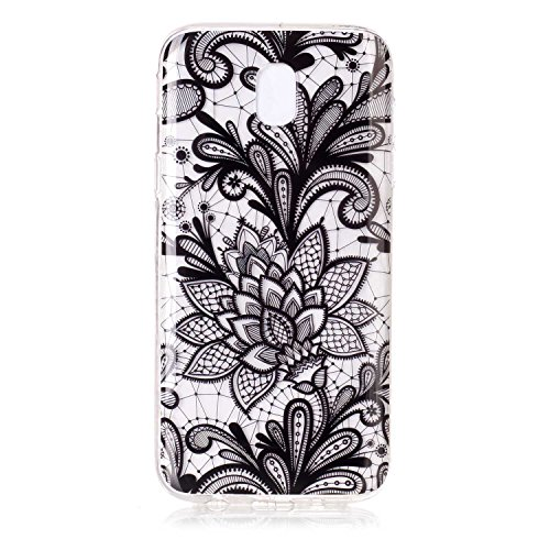 Funda Samsung Galaxy J7 2017/J730(Versión Europea), Samsung Galaxy J7 2017 Funda Silicona Transparente, EUWLY Alta Calidad Suave Crystal Clear Silicona Funda Caso Ultra Delgado Ligero Transparente Fle Negro flores