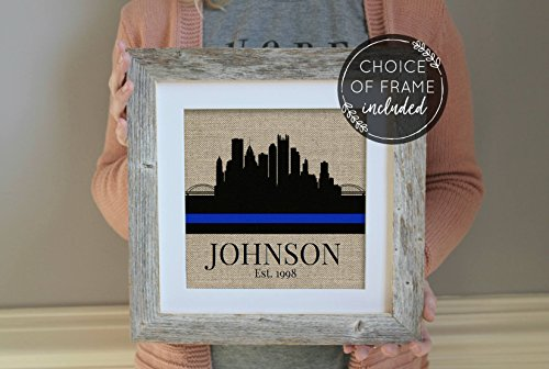 Prints Prints Prints Police Officer Gift Skyline Police Gifts Choose A City Police Academy Graduation Gift Thin Blue Line Family Name Frame NOT (Police Academy Poster)