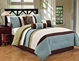 Bed in a Bag King Clearance Modern Stripe 7 Piece Bed / Comforter in a Bag (Cal King, Blue / Green) - Closeout
