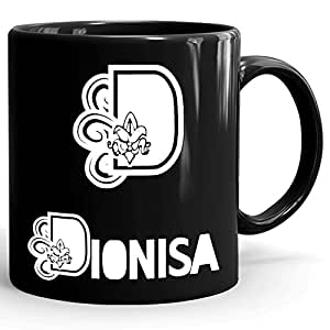 Dionisa Coffee Mug - Personalized Cup for Tea, Hot Chocolate, Milk - Best Gift for Women - 11oz Black Mug - White Flower Design