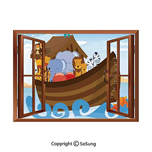 Noahs Ark Removable Wall Sticker/Wall Mural,Different Wild Animals on Noahs Ark Boat Cheerful Story with Characters Fun Creative Open Window design Wall Decor,24