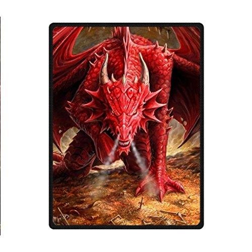 blanket Fashion Press Creative Red Fire Dragon Design 58 x 80 Inch Fleece Sheet Throw Bedding Fleece Throw