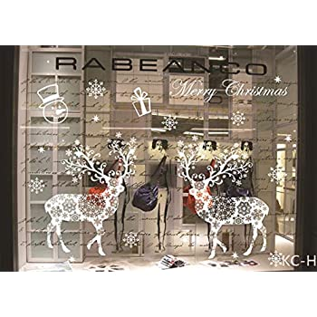 KINBEDY White Christmas Deer Gifts Window Stickers PVC Window Clings Easy to Install &Apply DIY Decor Sticker Home Art Decor....