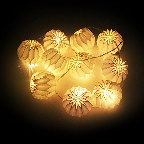 BOSHENG-DIY-White-Diamond-Shaped-Origami-Paper-Lantern-String-Light-55-FT