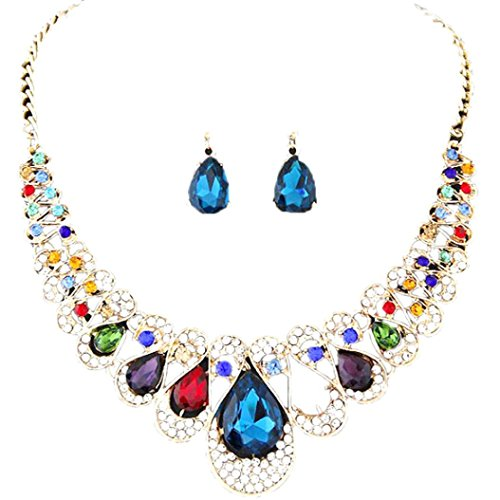 Mother's Day Gift, Muranba Womens Bohemia Color Bib Chain Necklace Earrings Jewelry (Multicolor) Flowers Multi Strand Necklace