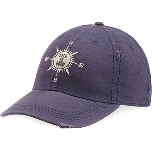 Life is good Sun Washed Chill Cap Lig Compass Hat, Darkest Blue, One Size