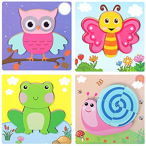 Sealive Animal Chunky Puzzles for Kids , 4 Pack Wooden Puzzles for Toddlers, Shape Color Matching Games Educational Learning Toys for 2-4 Year Olds ()