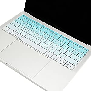 TOP CASE - Faded Ombre Series keyboard Cover Silicone Skin for MacBook Pro 13 inch A1708 (No TouchBar) Release 2017 & 2016 / Macbook 12-inch Retina A1534 with TOP CASE Mouse Pad - Aqua Blue & White