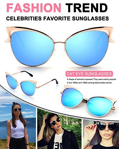 De Modelo Gato Sol Ojos de para Gafas Azul Espejo MS4 Dorado B Mujer GQUEEN 54vEwq4
