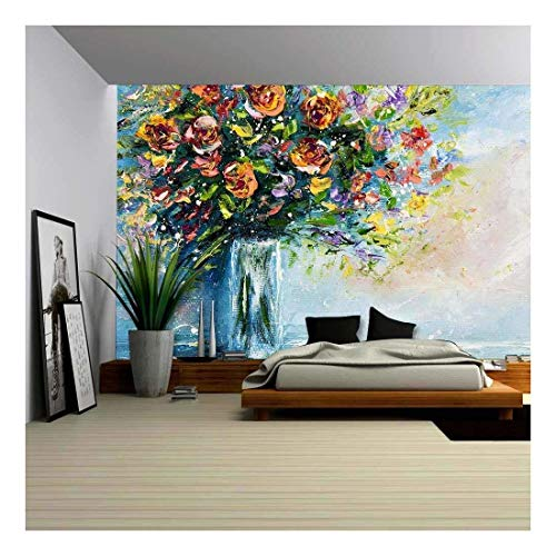 wall26 - Original Oil Painting of Beautiful Vase or Bowl of Fresh Flowers. on Canvas.Modern Impressionism, Modernism,Marinism - Removable Wall Mural | Self-Adhesive Large Wallpaper - 100x144 inches ()