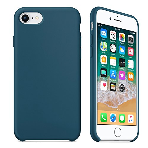 iPhone 8 Case, iPhone 7 Case,LINDIANSHUMA Liquid Silicone Gel Rubber Case with Soft Microfiber Cloth Lining Cushion for Apple iPhone 8 (2017) / iPhone 7 (2016),Cosmos - Cosmo Blue