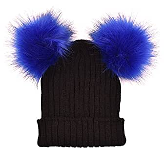 b0b908e1020 Opromo Women s Winter Chunky Knit Beanie Hat With Double Faux Fur Pom Pom  Ears-Black