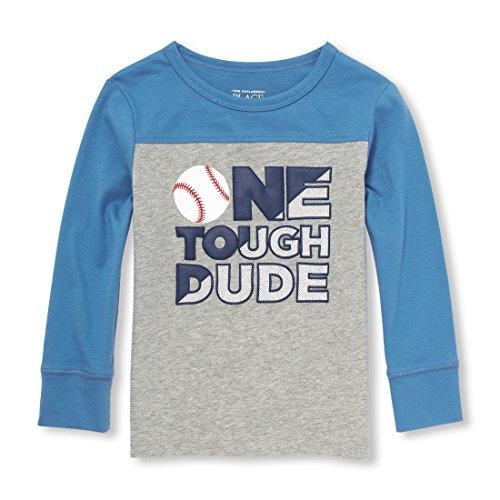 Baby Boys Long Sleeve Sport Graphic Tee, Heather/T Smoke, 12-18MOS ()
