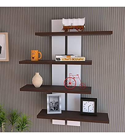 Red Wood Home Decor Bookcase Wall Shelf Magazine Holder/Magazine Rack for Home & Office - Brown & White
