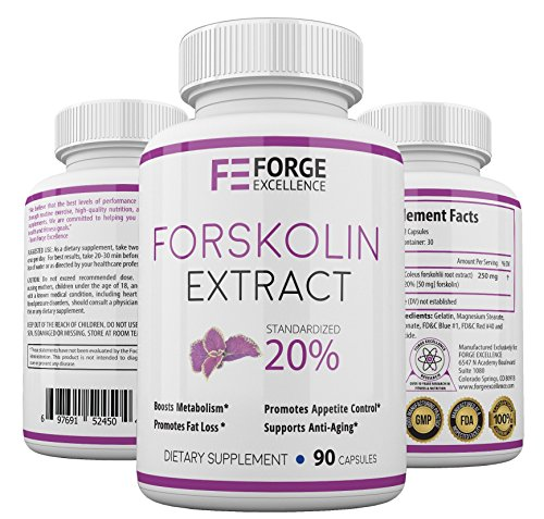 Forge Excellence - Premium 100% Pure Forskolin Extract Maximum Strength Thermogenic Fat Burner-Maximum Weight Loss Supplement-Metabolism Booster-High Quality Diet Pill - 60 Veggie Capsules